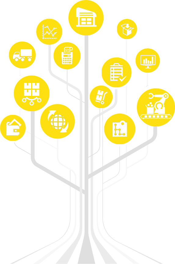 A branching graphic shows the benefits of Softeon supply chain management solutions