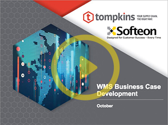 Graphic promoting Warehouse Management Software business case development event